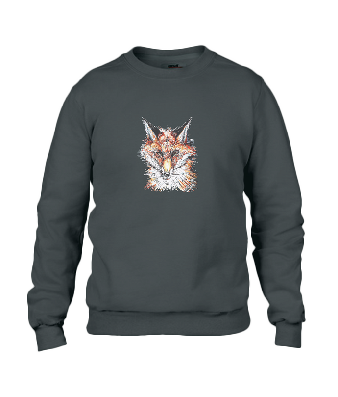 JanaRoos - T-shirts and Sweaters - Sweater - Packshot - Hand drawn illustration - Round neck - Long sleeves - Cotton - Black - Zwart - Fire Fox - Vos