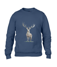 JanaRoos - Unisex sweater - Hand drawn illustration - Print design - Navy Blue - donker blauw -  Reindeer - deer - rendier - hert