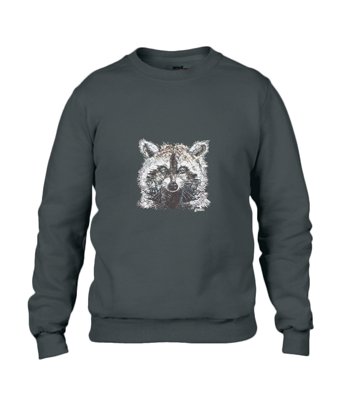 JanaRoos - T-shirts and Sweaters - Sweater - Packshot - Hand drawn illustration - Round neck - Long sleeves - Cotton - Jet black - zwart - raccoon - wasbeer - wasbeertje