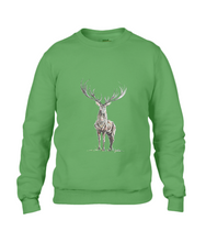 JanaRoos - Unisex sweater - Hand drawn illustration - Print design - Apple green - appel groen -  Reindeer - deer - rendier - hert