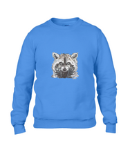 JanaRoos - T-shirts and Sweaters - Sweater - Packshot - Hand drawn illustration - Round neck - Long sleeves - Cotton - Royal Blue - blauw - raccoon - wasbeer - wasbeertje