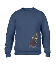 JanaRoos - T-shirts and Sweaters - Sweater - Packshot - Hand drawn illustration - Round neck - Long sleeves - Cotton - Navy blue - Navy blauw - merrie - horse - paard