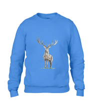 JanaRoos - Unisex sweater - Hand drawn illustration - Print design -Royal Blue - blauw -  Reindeer - deer - rendier - hert