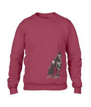 JanaRoos - T-shirts and Sweaters - Sweater - Packshot - Hand drawn illustration - Round neck - Long sleeves - Cotton - independence red - rood - merrie - horse - paard