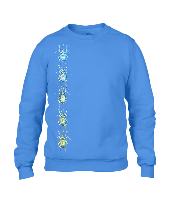 JanaRoos - T-shirts and Sweaters - Sweater - Packshot - Hand drawn illustration - Round neck - Long sleeves - Cotton - Royal Blue - Blauw - The beetles - Kevers