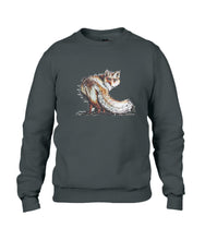 JanaRoos - T-shirts and Sweaters - Sweater - Packshot - Hand drawn illustration - Round neck - Long sleeves - Cotton - Black -Zwart - Fire Fox - Vos