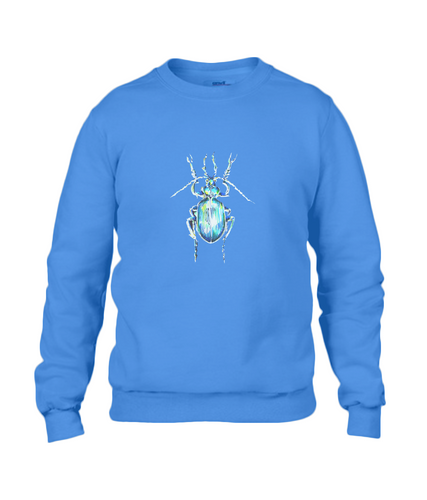 JanaRoos - T-shirts and Sweaters - Sweater - Packshot - Hand drawn illustration - Round neck - Long sleeves - Cotton - Blauw - Blue - The beetle - Kever