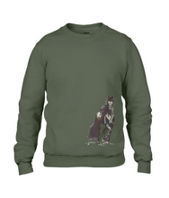 JanaRoos - T-shirts and Sweaters - Sweater - Packshot - Hand drawn illustration - Round neck - Long sleeves - Cotton - city green - khaki groen - merrie - horse - paard
