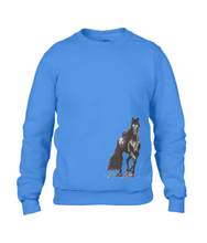 JanaRoos - T-shirts and Sweaters - Sweater - Packshot - Hand drawn illustration - Round neck - Long sleeves - Cotton- Royal blue - blauw - merrie - horse - paard