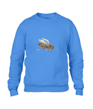 JanaRoos - T-shirts and Sweaters - Sweater - Packshot - Hand drawn illustration - Round neck - Long sleeves - Cotton - royal blue - blauw - honey bee - honing bij