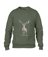 JanaRoos - Unisex sweater - Hand drawn illustration - Print design - City green - Kakhi groen -  Reindeer - deer - rendier - hert