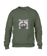 JanaRoos - T-shirts and Sweaters - Sweater - Packshot - Hand drawn illustration - Round neck - Long sleeves - Cotton - Khaki Green - Groen - raccoon - wasbeer - wasbeertje