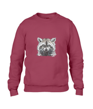 JanaRoos - T-shirts and Sweaters - Sweater - Packshot - Hand drawn illustration - Round neck - Long sleeves - Cotton - independence red - rood - raccoon - wasbeer - wasbeertje