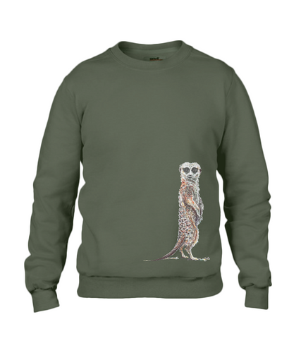 JanaRoos - T-shirts and Sweaters - Sweater - Packshot - Hand drawn illustration - Round neck - Long sleeves - Cotton - Khaki green - groen  - Meerkat - suricate - stokstaartje