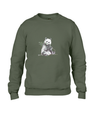 JanaRoos - T-shirts and Sweaters - Sweater - Packshot - Hand drawn illustration - Round neck - Long sleeves - Cotton - Green - Groen - Khaki - Panda