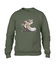 JanaRoos - T-shirts and Sweaters - Sweater - Packshot - Hand drawn illustration - Round neck - Long sleeves - Cotton - Khaki Green - Groen - Fire Fox - Vos