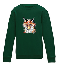 JanaRoos - T-shirts and Sweaters - Kid's Sweater - Packshot - Hand drawn illustration - Round neck - Long sleeves - Cotton - Green - Groen - Fox - Vos
