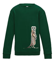 JanaRoos - T-shirts and Sweaters - Kid's Sweater - Packshot - Hand drawn illustration - Round neck - Long sleeves - Cotton - Bottle green- fles groen - meerkat - stokstaartje