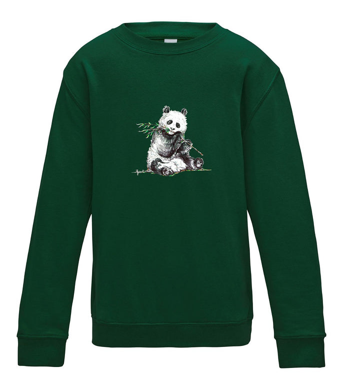 JanaRoos - T-shirts and Sweaters - Kid's Sweater - Packshot - Hand drawn illustration - Round neck - Long sleeves - Cotton - Bottle Green - Groen - Panda