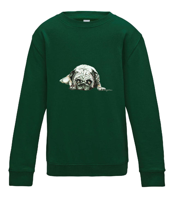 JanaRoos - T-shirts and Sweaters - Kid's Sweater - Packshot - Hand drawn illustration - Round neck - Long sleeves - Cotton - bottle green - fles groen - pugg - dog - mops - hond