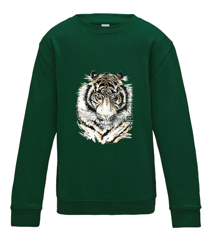 JanaRoos - T-shirts and Sweaters - Kid's Sweater - Packshot - Hand drawn illustration - Round neck - Long sleeves - Cotton - Bottle green - fles groen- Siberian tiger - Siberische tijger