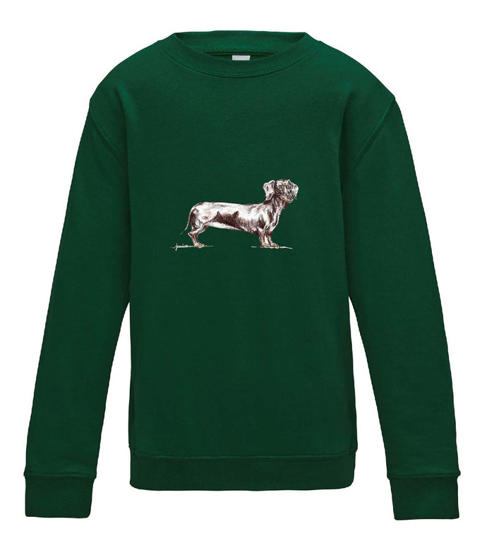 JanaRoos - T-shirts and Sweaters - Kid's Sweater - Packshot - Hand drawn illustration - Round neck - Long sleeves - Cotton - bottle green - fles groen - teckel dog - dachshund - hond