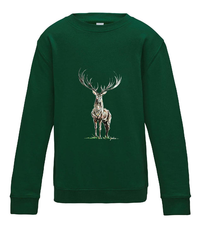 JanaRoos - T-shirts and Sweaters - Kid's Sweater - Packshot - Hand drawn illustration - Round neck - Long sleeves - Cotton - Bottle green - fles groen - Reindeer - deer - hert - rendier