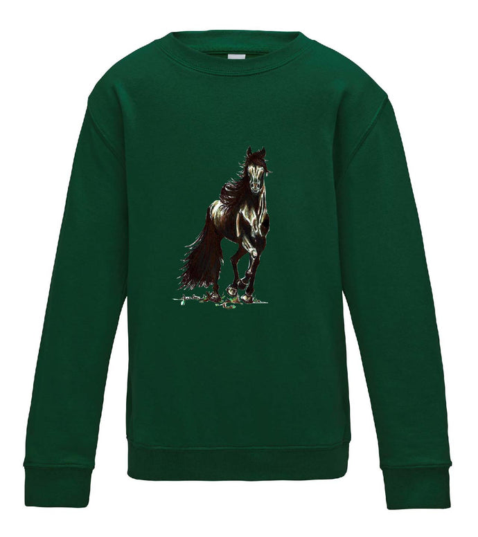 JanaRoos - T-shirts and Sweaters - Kid's Sweater - Packshot - Hand drawn illustration - Round neck - Long sleeves - Cotton - Bottle green - fles groen- Black Merrie horse - paard