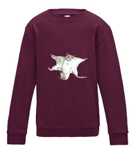 JanaRoos - T-shirts and Sweaters - Kid's Sweater - Packshot - Hand drawn illustration - Round neck - Long sleeves - Cotton - burgundy - paars - flying squirrel - vliegende eekhoorn