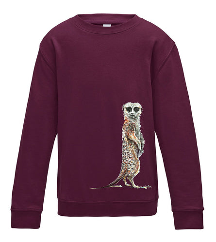 JanaRoos - T-shirts and Sweaters - Kid's Sweater - Packshot - Hand drawn illustration - Round neck - Long sleeves - Cotton - Burgundy - meerkat - stokstaartje