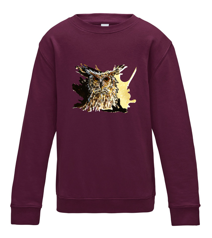 JanaRoos - T-shirts and Sweaters - Kid's Sweater - Packshot - Hand drawn illustration - Round neck - Long sleeves - Cotton - Burgundy - Bordeaux - Coffee owl - Uil