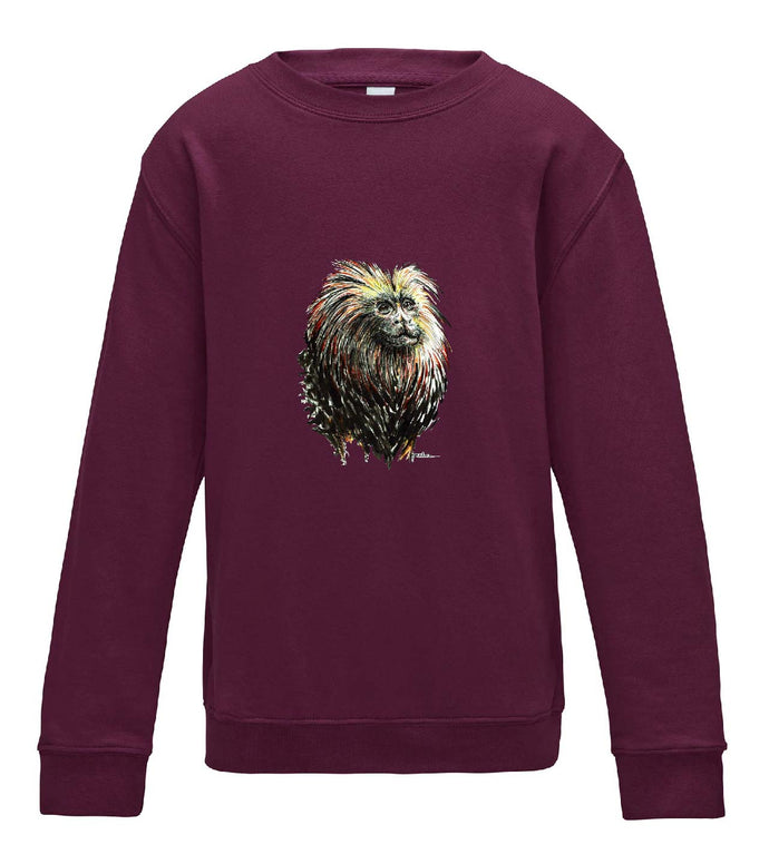 JanaRoos - T-shirts and Sweaters - Kid's Sweater - Packshot - Hand drawn illustration - Round neck - Long sleeves - Cotton - burgundy - paars - lion tamarin monkey - leeuwaapje