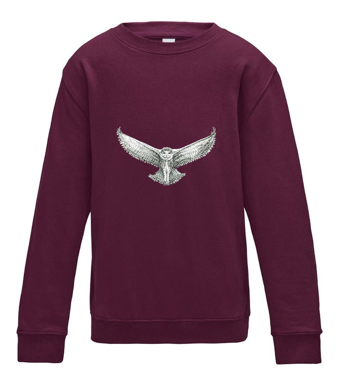 JanaRoos - T-shirts and Sweaters - Kid's Sweater - Packshot - Hand drawn illustration - Round neck - Long sleeves - Cotton - burgundy - paars- snowy owl - sneeuwuil