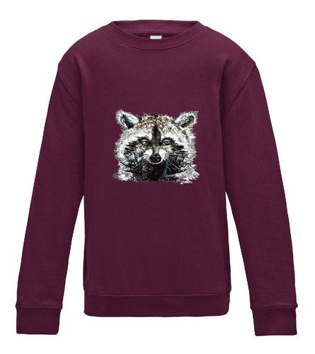 JanaRoos - T-shirts and Sweaters - Kid's Sweater - Packshot - Hand drawn illustration - Round neck - Long sleeves - Cotton - Burgundy - licht paars- raccoon - wasbeer - wasbeertje
