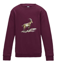 JanaRoos - T-shirts and Sweaters - Kid's Sweater - Packshot - Hand drawn illustration - Round neck - Long sleeves - Cotton - burgundy - paars - gems - mountain goat - berggeit