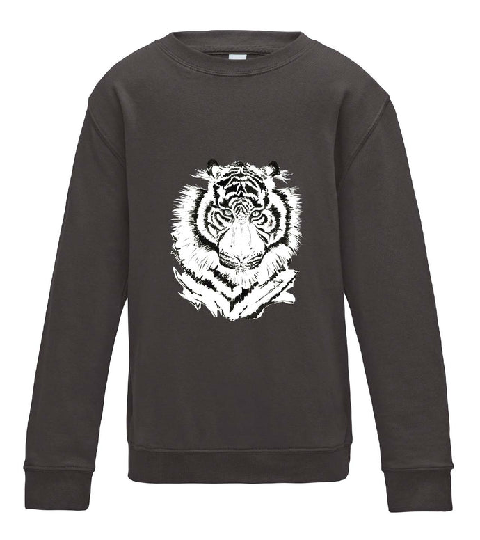 JanaRoos - T-shirts and Sweaters - Kid's Sweater - Packshot - Hand drawn illustration - Round neck - Long sleeves - Cotton - Charcoal grey - grijs - White tiger - witte tijger