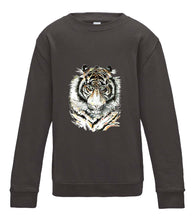JanaRoos - T-shirts and Sweaters - Kid's Sweater - Packshot - Hand drawn illustration - Round neck - Long sleeves - Cotton - Charcoal grey - grijs - Siberian tiger - Siberische tijger