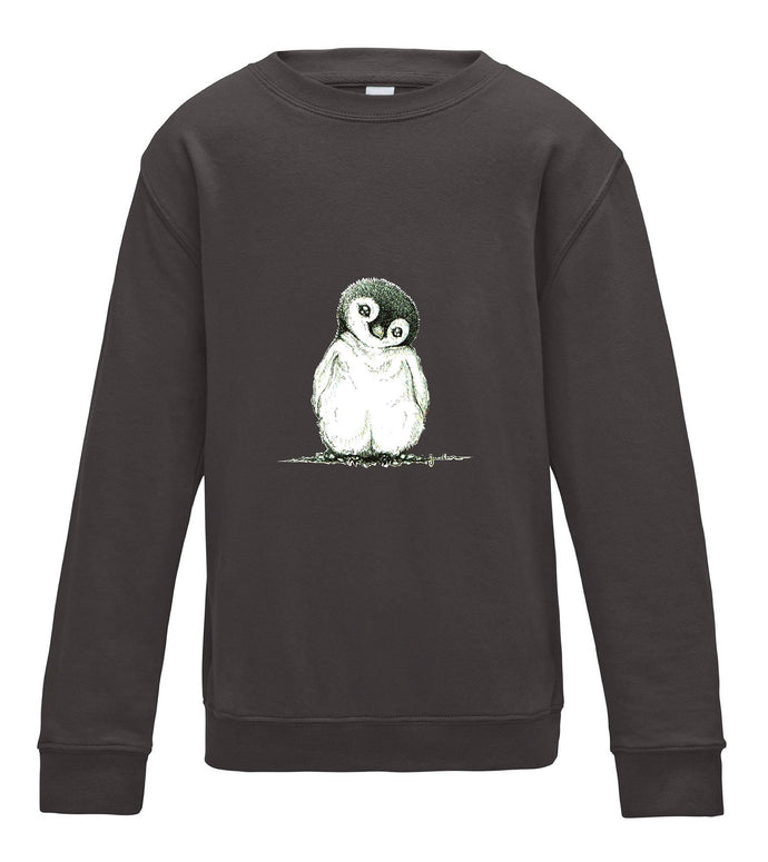 JanaRoos - T-shirts and Sweaters - Kid's Sweater - Packshot - Hand drawn illustration - Round neck - Long sleeves - Cotton - Charcoal - grijs - penguin - pinguin