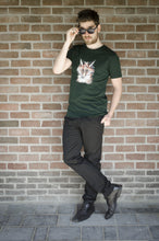 Wall Picture Men's T-Shirt Fox Illustration Scarab Green Sunglasses vos groen