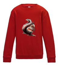 JanaRoos - T-shirts and Sweaters - Kid's Sweater - Packshot - Hand drawn illustration - Round neck - Long sleeves - Cotton - Fire Red - rood - squirrel - eekhoorn