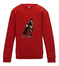JanaRoos - T-shirts and Sweaters - Kid's Sweater - Packshot - Hand drawn illustration - Round neck - Long sleeves - Cotton - Fire Red -vuur rood-  Black Merrie horse - paard