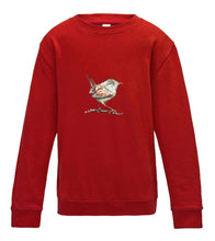 JanaRoos - T-shirts and Sweaters - Kid's Sweater - Packshot - Hand drawn illustration - Round neck - Long sleeves - Cotton - fire red - vuurrood - wren- winterkoninkje