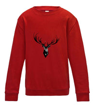 JanaRoos - T-shirts and Sweaters - Kid's Sweater - Packshot - Hand drawn illustration - Round neck - Long sleeves - Cotton -Black ink - zwart - fire red - rood - Reindeer antler - deer antler - hert gewei - rendier gewei