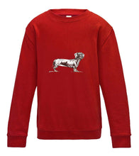 JanaRoos - T-shirts and Sweaters - Kid's Sweater - Packshot - Hand drawn illustration - Round neck - Long sleeves - Cotton - fire red - rood - teckel dog - dachshund - hond