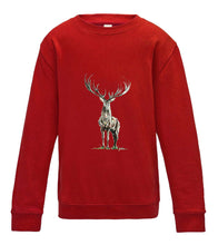 JanaRoos - T-shirts and Sweaters - Kid's Sweater - Packshot - Hand drawn illustration - Round neck - Long sleeves - Cotton - Fire red - vuur rood - Reindeer - deer - hert - rendier