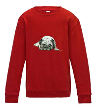 JanaRoos - T-shirts and Sweaters - Kid's Sweater - Packshot - Hand drawn illustration - Round neck - Long sleeves - Cotton - Fire red - vuur rood- pugg - dog - mops - hond