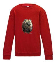 JanaRoos - T-shirts and Sweaters - Kid's Sweater - Packshot - Hand drawn illustration - Round neck - Long sleeves - Cotton - fire red - rood - lion tamarin monkey - leeuwaapje