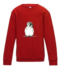 JanaRoos - T-shirts and Sweaters - Kid's Sweater - Packshot - Hand drawn illustration - Round neck - Long sleeves - Cotton - fire red - fel rood - penguin - pinguin