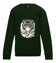 JanaRoos - T-shirts and Sweaters - Kid's Sweater - Packshot - Hand drawn illustration - Round neck - Long sleeves - Cotton - forest green  - mos bos groen - Siberian tiger - Siberische tijger