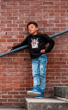 kidssweater Fire Fox Vos Jet Black zwart wallpicture fotoshoot